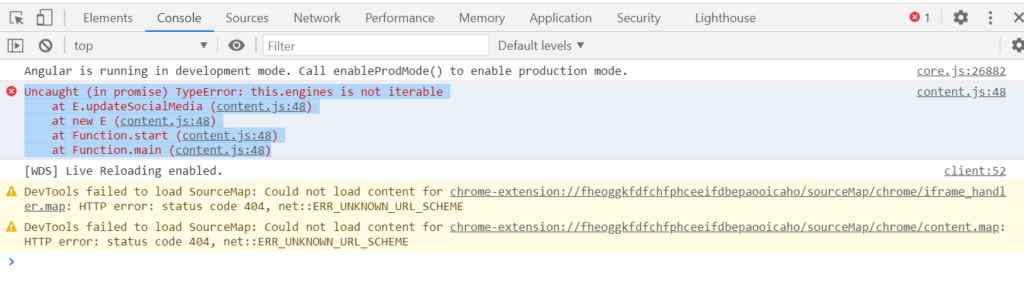 Uncaught (in promise) TypeError: this.engines is not iterable
